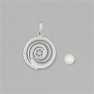 925 Sterling Silver Pearl Pendant Mount Fits 6mm Round Inc. Freshwater Cultured Pearl 6mm Round Cabochon With 0.06cts White Topaz Approx 1mm Round