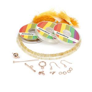 A Gift to El Love Alison Rose Gold Citrine Kit; Citrine, Findings & Thread Pack