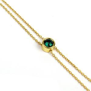 Gold Plated 925 Sterling Silver Slider Bracelet With Emerald Green Swarovski Ball And Pin Ends, Total Length 24cm