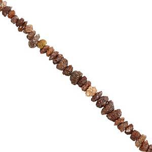 13cts Brown & Red Diamond Rough Nuggets Approx 2.2x1.2 to 4.5x2.5mm, 20cm Strand