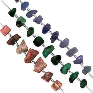 75cts Thulite Tanzanite Emerald Rough approx 5.4x3.8mm to 9.1x6.2mm 5cm strand with spacers