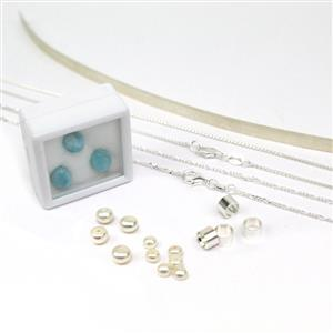 Larimar, Pearl & Sterling Silver Pendant Kit with Figaro & Box Chains