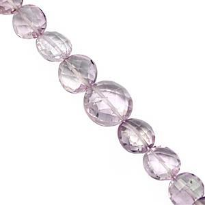 50cts Rose De France Pink Amethyst Graduated Faceted Coin Approx 5.5 to 11.5mm, 19cm Strand