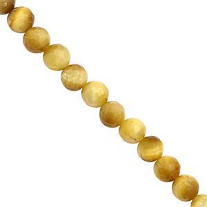 115cts Golden Tiger Eye Faceted Round Approx 7.40mm, 30cm Strand