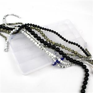 "15-16"" 6 Strands in Box Black Agate, Dalmatian Jasper & White Howlite Plain Round 4,6,8,10mm"