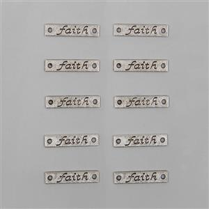 Faith - Silver Plated Alloy Metal Connector Charms Approx 25x5mm (10 pcs)