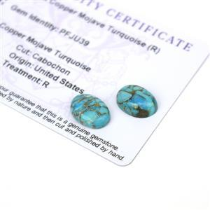 8.2cts Copper Mojave Turquoise 14x10mm Oval Pack of 2 (R)