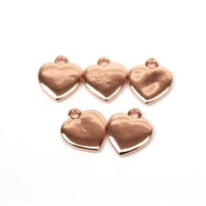 Rose Gold Plated Base Metal Heart Charms, Approx. 10mm (5pk)