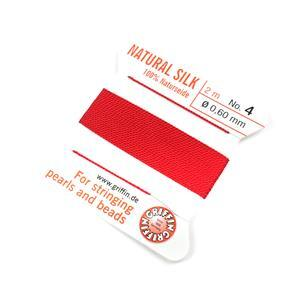 Silk Thread, Size 04 (.6 mm, .024 in) - Red, with needle, 2 m (6.5 ft)