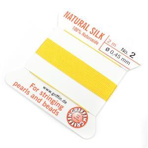 Silk Thread, Size 02 (.45 mm, .018 in) - Yellow, with needle, 2 m (6.5 ft)