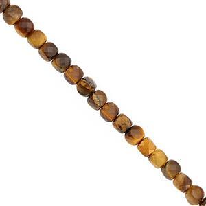 62cts Tiger Eye Faceted Cube Approx 3.70 to 4mm, 38cm Strand