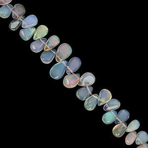 18cts Ethiopian Opal Top Side Drill Graduated Smooth Pear Approx 4x2.5 to 9x5.5mm, 18cm Strand