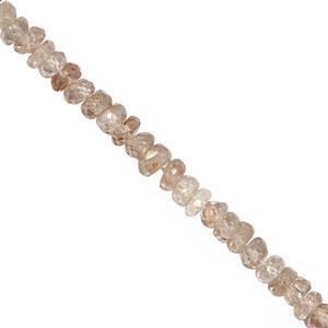 20cts White Zircon Faceted Rondelles Approx 2.50x1.50 to 3.50x2mm, 15cm Strand