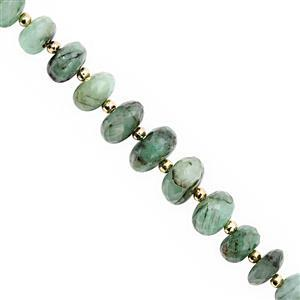 35cts Emerald Graduated Faceted Rondelle Approx 5.5x3.5 to 10.5x6.5mm, 13cm Strand with Spacers