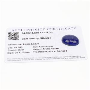 14.8cts Sar-i-Sang Lapis Lazuli 20x15mm Oval  (N)