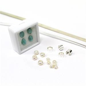 Larimar & Pearl 925 Sterling Silver Bezel & Tube Set Rings