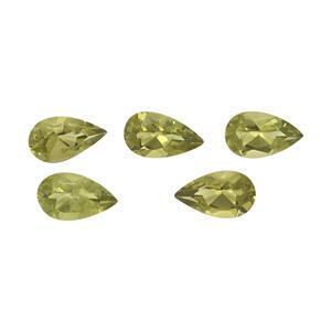 0.85cts Arizona Peridot Brilliant Pear 5x3mm pack of 5 (N)