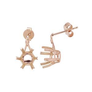 9K Rose Gold Earrings Mount (To fit 8mm Snowflake Cut Gemstone)- 1pair