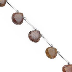 66cts Picasso Jasper Top Side Drill Smooth Heart Approx 11.5 to 14.5mm, 21cm Strand with Spacers