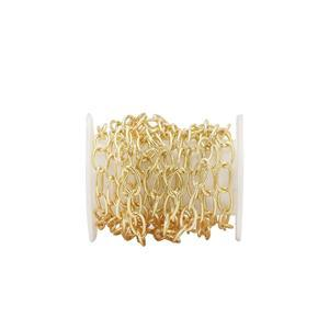 Gold Plated Base Metal Cable Chain, Approx. 6x3.70mm (1m)