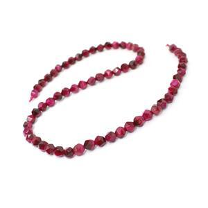 70cts Dyed Fuchsia Tiger Eye Star Cut Rounds Approx 6mm, 38cm Strand