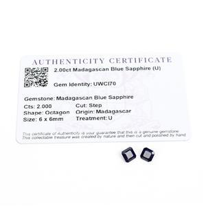 2cts Madagascan Blue Sapphire 6x6mm Step Pack of 2 (U)