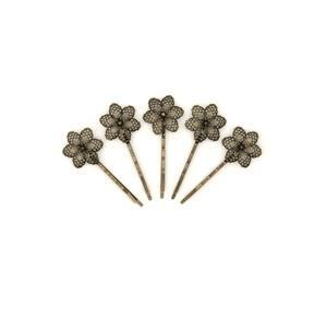 Antique Coloured Base Metal  Floral Filigree Bobby Pins, Approx 24x67mm (10pk)
