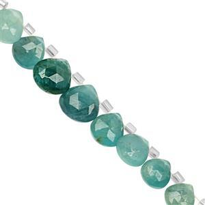 30cts Grandidierite Top Side Drill Graduated Faceted Heart Approx 5.5x6 to 9x9mm, 15cm Strand with Spacers