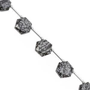 75cts SnowFlake Obsidian Faceted Hexagon Approx 12.50 to 16.50mm, 18cm Strand with Spacers