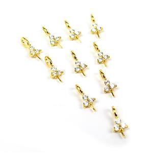 Gold Plated 925 Sterling Silver Triple Cubic Zirconia Peg Bail (10pcs)