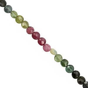 20cts Multi-Colour Tourmaline Faceted Coins Approx 4 to 4.50mm, 20cm Strand