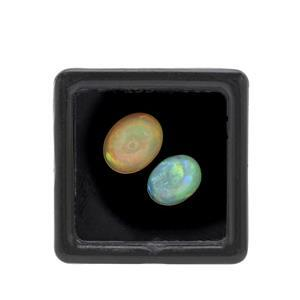 Ethiopian Opal Cabochon Oval Approx 7.5X5.5 to 11x9mm Loose Gemstones, Pack of 2