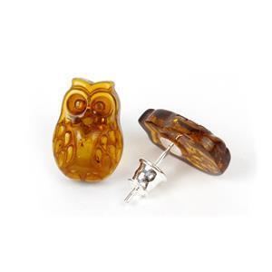 Baltic Cognac Amber Carved Owl .925 Sterling Silver Stud Earrings (1pair)