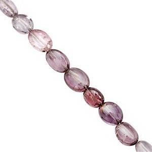 22cts Natural Burmese Purple Spinel Graduated Plain Oval Approx 2.5x3 to 4.5x6mm, 25cm Strand