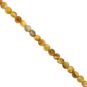 28cts Golden Tiger Eye Faceted Coin Approx 3.75 to 4.50mm, 30cm Strand