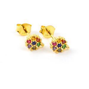 Zircon Earrings  in Gold Flash Sterling Silver 0.03ct