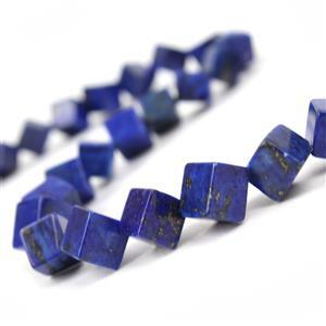 210cts Dyed Lapis Lazuli Corner Drilled Cubes Approx 8mm, 38cm Strand