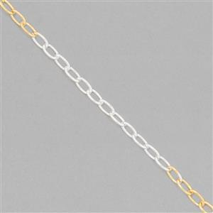925 Sterling Silver Oval Link Chain Approx 5x3mm in Two Tone -Silver & Gold, Length Approx 50cm