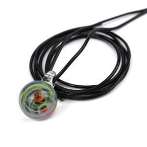 Blue/Orange Universe Bead with Black Leather Cord, Approx. 20x30mm (1pc)
