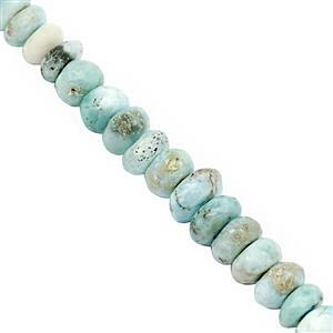 70cts Larimar Graduated Faceted Rondelles Approx 3x5 to 4x8mm, 25cm Strand