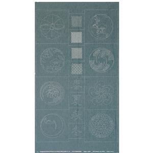 Sashiko Tsumugi Preprinted Kamon 20 Light Blue Fabric Panel 108x61cm