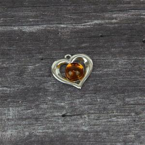 Baltic Cognac Amber Hearshape Sterling Silver Pendant Approx 17x17mm