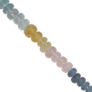 """42cts Multi Colour Beryl Faceted Rondelles Approx 3mm - 5mm, 9"""" Strand"""