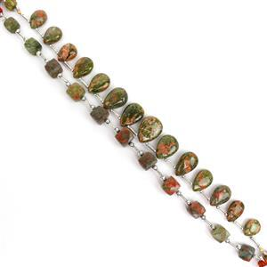Last Of Stock Unakite! Inc; 96cts Smooth Pairs & 76cts Faceted Cubes.