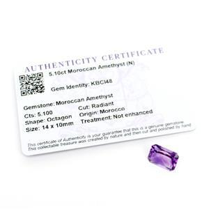 5.1cts Moroccan Amethyst Octagon Radiant 14x10mm