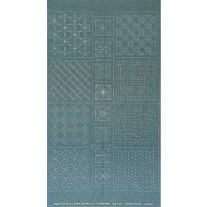 Sashiko Tsumugi Preprinted Geo 20 Light Blue Fabric Panel 108x61cm