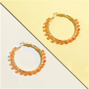 10 Pairs Gold Plated Gemstone Hoop Earrings