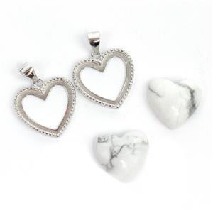 925 Sterling Silver Heart Bezel Pendants Approx 17x21mm (2pcs) & Howlite Heart Cabochon (2pcs) Approx 14x15mm