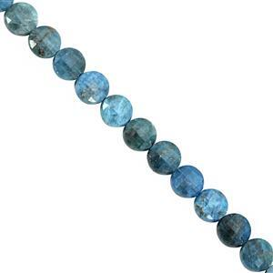 105cts Blue Apatite Faceted Coin Approx 7.5 to 8mm, 30cm Strand