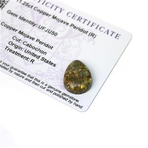 11.25cts Copper Mojave Peridot 20x15mm Pear  (R)